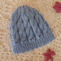 Baby's hand-knitted cable-knit beanie to fit 3 - 6 mths; 8-ply soft acrylic