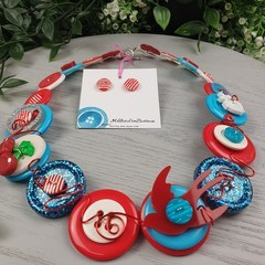 Cherry Sailor Sparrow - Button Necklace - Button Earrings
