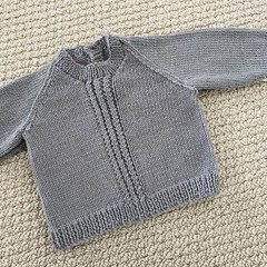 CLEARANCE 40% off - Grey  Jumper - Size 0-3 months -in pure wool.