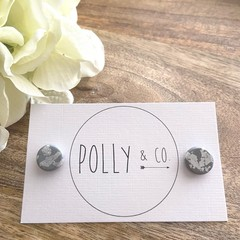 Polymer Clay Stud Earrings - Grey with silver foil