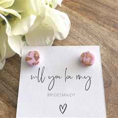 Will You Be My Bridesmaid - Polymer Clay Stud Earrings