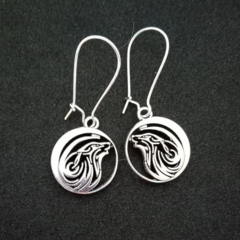 Silver round wolf earrings
