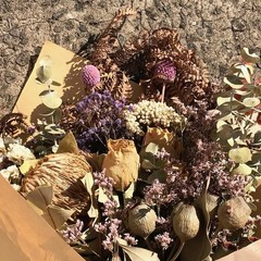 Boho Garden - Dry bouquet, Dried flowers - 40cm - Banksia - Purple, natural
