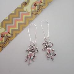 Silver cute puppy dog charm earrings