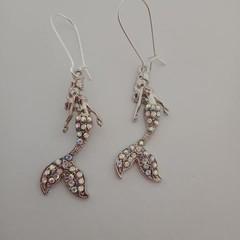 Silver mermaid bling earrings