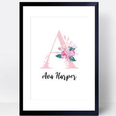 Girls Nursery Print, Letter print, custom name print, baby girl print
