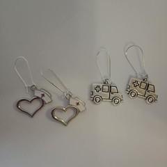 Silver nurse / ambulance charm earrings