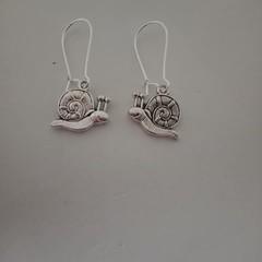 Silver snail charm dangle earrings