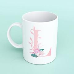 Personalised Alphabet Letter Mug, Floral Mug, Personalised Floral Mug