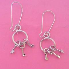 Silver key / luck dangle earrings