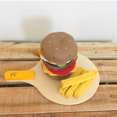 Burger felt food, play kitchen, pretend food, pure new wool felt