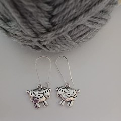 Silver sheep charm dangle earrings