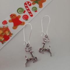 Silver reindeer Christmas earrings