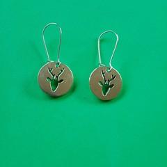 Silver round reindeer Christmas earrings