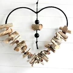 Driftwood heart coastal  wall decor