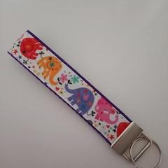 Elephant print key fob wristlet