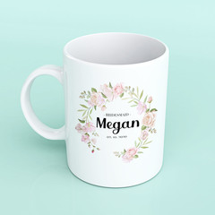 Personalised floral bridesmaid mug, bridesmaid shower mugs, mug for bridesmaids