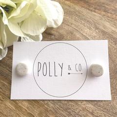 Polymer Clay Stud Earrings - white granite