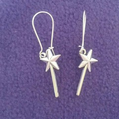 Silver magic wand / fantasy earrings