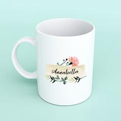 Floral personalised mug, custom mug, personalised mug, mug for friend