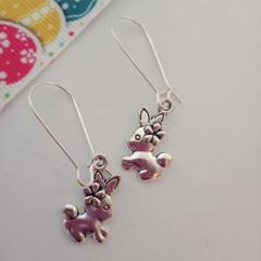 Silver rabbit / Easter bunny earrings