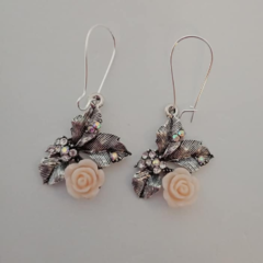 Silver rose / flower and leaf sparkle earrings