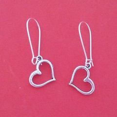 Silver love heart dangle earrings