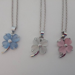 Clover leaf  pink blue and clear lucky charm necklaces