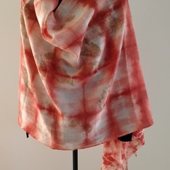 Silk/ Merino Garnet Shibori Shawl/Wrap, XMas gift for Her/ Teacher