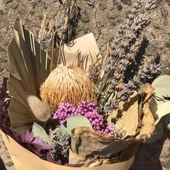 Purple Posy- Dry bouquet - Dried flowers - 40cm - Natural, banksia, lavender