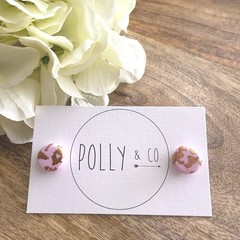 Polymer Clay Stud Earrings - pastel violet with rose gold foil