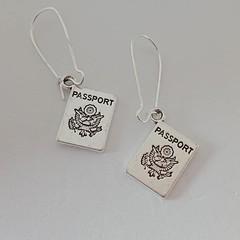 Silver passport / travel earrings