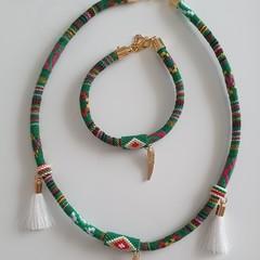 Bohemian Etnic Necklace and Braclet Set