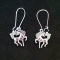 Silver horse charm earrings
