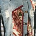 Upcycled Boho Gypsy Denim & embellished styled Jacket Front and back