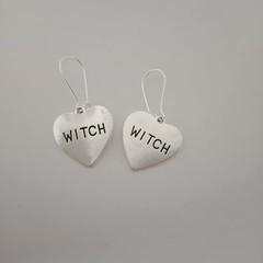 Silver witch heart dangle earrings