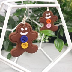Gingerbread Cookies - Button - Polymer Clay Dangle earrings