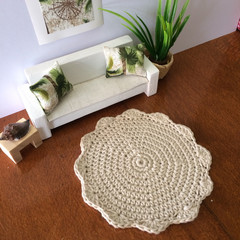Miniature Crocheted Doily rug. Handmade dollhouse floor rug, dollhouse decor, cr