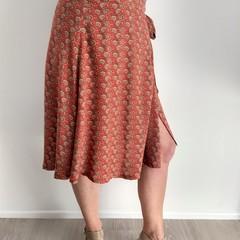 Orange Filigree Knee Length Wrap Skirt (medium)