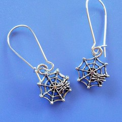 Silver spider in cobweb charm earrings