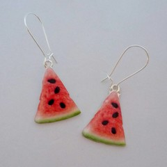 Silver watermelon charm earrings
