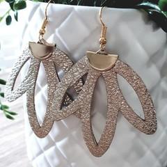 Gold Leather Flower Earrings
