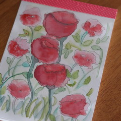 Watercolour Ruled Notepad - Red Flowers