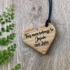 Personalised custom engraved wooden heart pendant beautiful gift