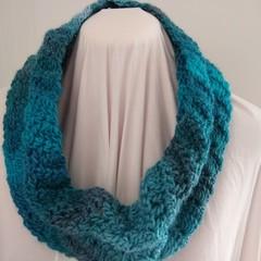 Crocheted Cowl Scarf - Ocean Greens