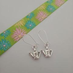 Silver watering can charm earrings