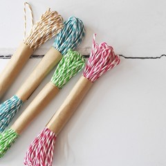 - GREEN -  Striped Paper Twine {10m} Recycled Paper Twine | Twisted Paper Cord