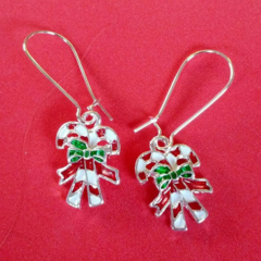 Silver red and white candy cane Christmas earrings
