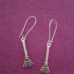 Silver witch's broom charm dangle earrings