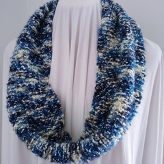 Hand Knitted Continuous Scarf - Blue & White